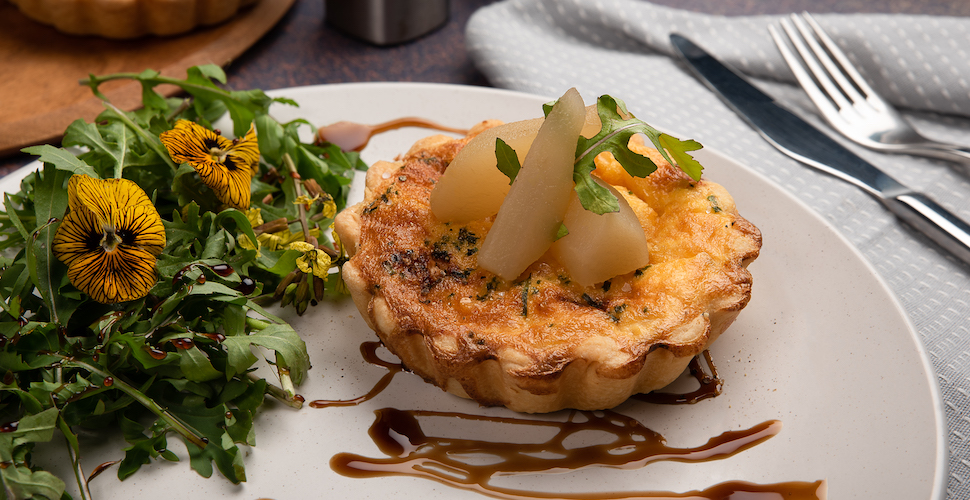 Blue cheese and pickled pear tart